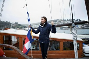 Freya hoisting the Quba flag in April